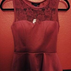 Peplum red shirt